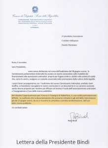Lettera Presidente Bindi